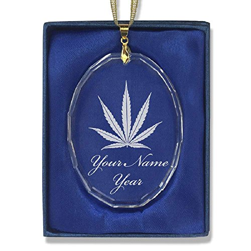 Oval Crystal Christmas Ornament - Marijuana Leaf - Personalized Engraving Included
