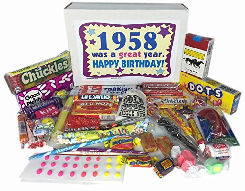 Woodstock Candy 1958 60th Birthday Gift Box of Retro Nostalgic Candy for a 60 Year Old Man or Woman Born in the '50s Jr