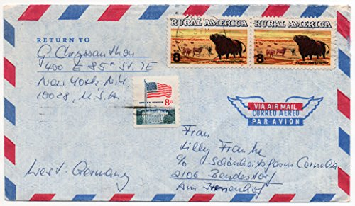 (US Air Mail Postal Cover 1973 With 2 Scott #1504 US Postage Stamps And Scott #1338a Flag Stamp)