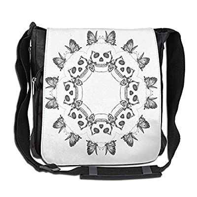 low-cost Lovebbag Gothic Trippy Circular Dead Skull Bones Heads With Butterflies Sacred Life Image Crossbody Messenger Bag