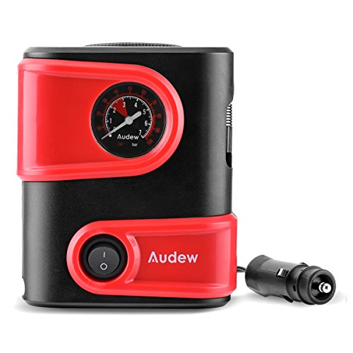 Audew Portable Tire Inflator, Mini Air Compressor - Easy Carry Tire Pump with Gauge, 12V DC Auto Tire Inflator for Car, Bicycle, Motorcycle, SUV,Basketball and Other Inflatables.