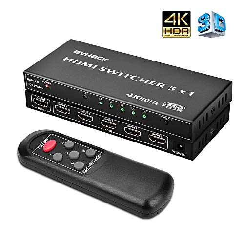 4K HDMI Switch - 5x1 4K 60Hz HDMI Switch Box with IR Remote, High Speed (Max to 18.5Gbps) & Auto Switch, Support【4K/Ultra HD/3D/1080P】24k Gold Plated Ports, HDMI Splitter for TV/PC/Blu-Ray Player/Xbox