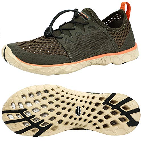 ALEADER Mens Fashion Sneakers | Walk, Run, Swim, Train | Packable, Washable, Comfortable Khaki/Orange 11 D(M) US