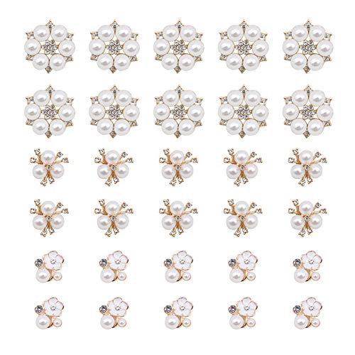 30 Pcs Rhinestone Pearl Embellishments, Faux Pearl Flower Embellishments Pearl Brooch Flatback Pearl Buttons for Wedding Party Home Decoration and DIY Crafts