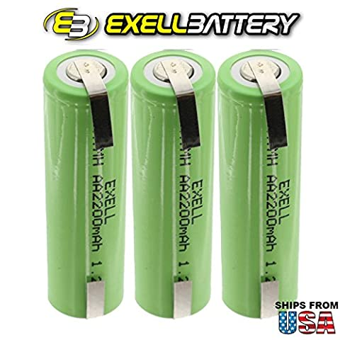 3x Exell 1.2V AA Size 2200mAh NiMH Rechargeable Batteries w/ Tabs for use with cameras, camcorders, mobile phones, pagers, medical instruments/equipment, high power static applications FAST USA - 2,200 Mah Nimh Battery