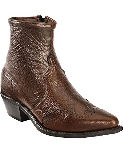 Abilene Men's Western Wingtip Zipper Boot Chocolate 11.5 EE US