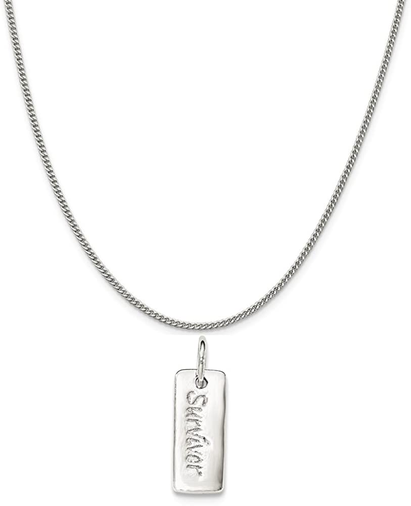 Mireval Sterling Silver Polished Courage//Survivor Reversible Charm on a Chain Necklace 16-20
