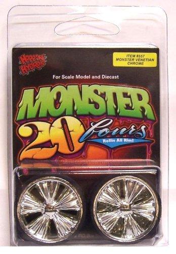Hoppin Hydros Chrome Venetian Monster 24's Rims Wheels w/ Ultra Low Profile Tires (for Hobby Model Kits) 1/24 1/25 Scale