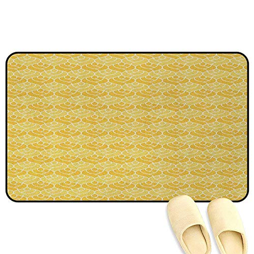 homecoco Abstract Non-Slip Standing Mat Doodle Romantic Valentines Day Roses Symbol of Love and Affection Marigold Yellow White Kitchen Decor mats W16 x L24 INCH ()