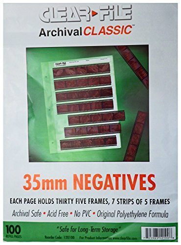 ClearFile Archival Classic ~ 35mm Negative Pages, 100 Pack by Clear File