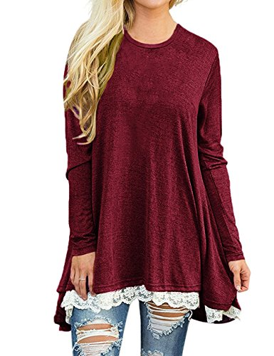Halife Women's Casual Loose Long Sleeve A Line Hi-Low Tunic Dress Long Shirt Tops Blouses L,Red
