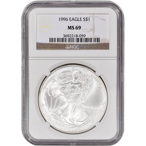 1996 American Silver Eagle $1 MS69 - Coin American Silver Eagle 1996