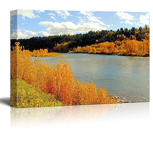 Fall Foliage Decor Wrap - Canvas Prints Wall Art - Beautiful Autumn Scenery Colorful Fall Foliage Along a River | Modern Wall Decor/Home Decor Stretched Gallery Wraps Giclee Print & Wood Framed. Ready to Hang -32
