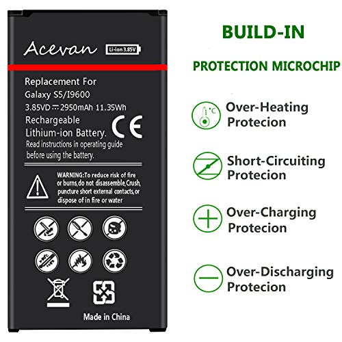 Galaxy S5 Battery Acevan 2950mAh Li-ion Battery Replacement for Samsung Galaxy S5, Verizon G900V, Sprint G900P, T-Mobile G900T, AT&T G900A, G900F, G900H, G900R4, I9600 [3 Year Warranty] by Acevan (Image #4)