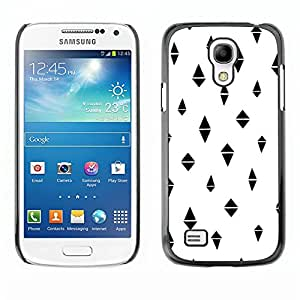 TopCaseStore / la caja del caucho duro de la cubierta de protección de la piel - White Minimalist Pattern Black - Samsung Galaxy S4 Mini i9190 MINI VERSION!
