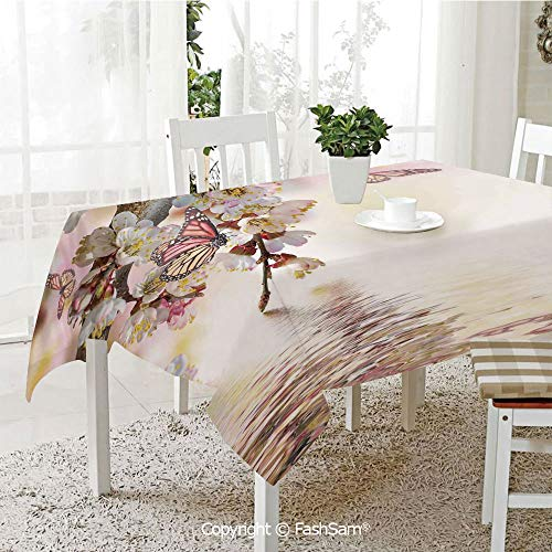 AmaUncle 3D Print Table Cloths Cover Natural Floral Japanese Style Garden Cherry Blossom Sakura Tree Nature Resistant Table Toppers (W60 xL84)