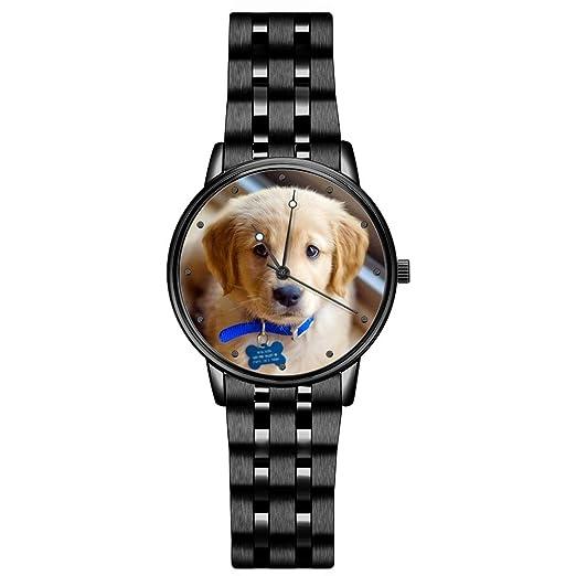 SOUFEEL Reloj Analógico Personalizados con Foto con Pulsera de Correa de Piel Vaca Reloj Cuarzo Ultra Delgada 36mm Plata: Amazon.es: Relojes