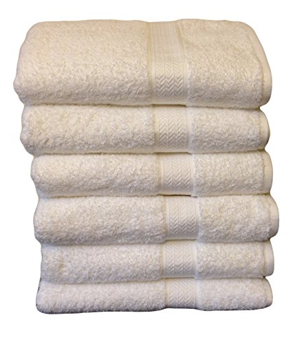 Grandeur Hospitality Bath Towels, 100% Cotton, 6 Pack, White