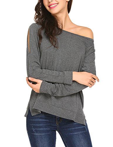 SoTeer Women's Cutout Off Shoulder Causal Sweater Long Sleeve Jersey Tops Tunic Shirts Grey XL