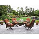 Patio Dining Set 5 Piece Outdoor Furniture Glass Table Seats 4 Swivel Chairs Cushions Review