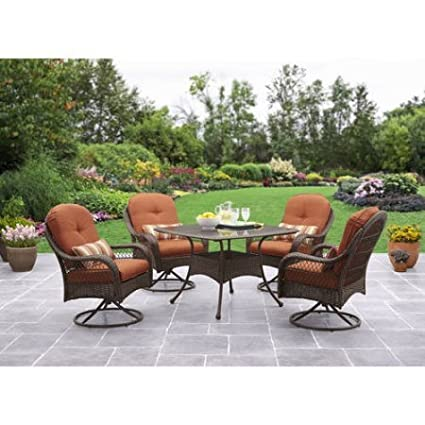 Amazoncom Patio Dining Set 5 Piece Outdoor Furniture Glass Table