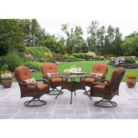 Patio Dining Set 5 Piece Outdoor Furniture Glass Table Seats 4 Swivel Chairs Cushions