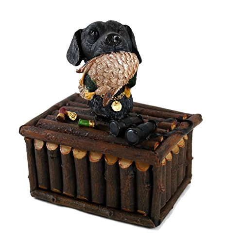 Petrey Novelties Black Labrador Retriever with Duck Rustic Hunting Theme Keepsake Trinket Decorative Box
