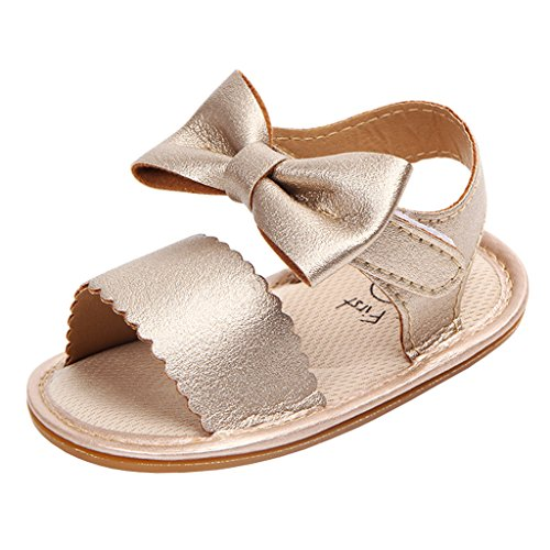 Picture of Annnowl Baby Girls Sandals for Summer with Bows (12-18 Months, Gold)
