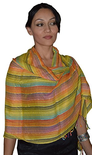 Moroccan Shoulder Shawl Breathable Cotton Oblong Head Scarf Silky Soft Exquisite Wrap Yellow by Treasures of Morocco Shawls