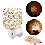 MaymiiHome Himalayan Salt Mini Night Light Lights Lamp, Sea Salt Crystal Chunk in Gold Mosic Glass Crystal Vase Cup Lantern Basket Firw Bowl,UL Approved Plug 2 Bulbs Glow,Pulg in Wall Night Light