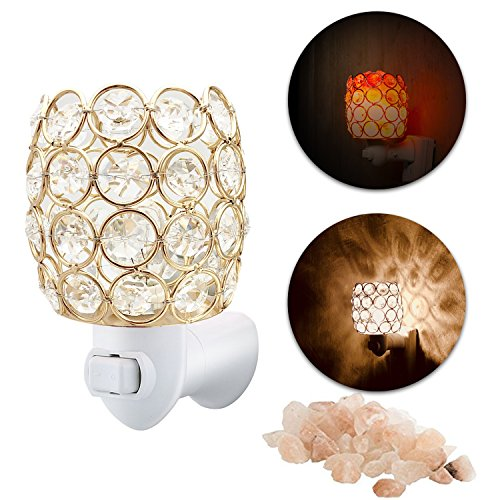 MaymiiHome Himalayan Salt Mini Night Light Lights Lamp, Sea Salt Crystal Chunk in Gold Mosic Glass Crystal Vase Cup Lantern Basket Firw Bowl,UL Approved Plug 2 Bulbs Glow,Pulg in Wall Night Light by MAYMII·HOME