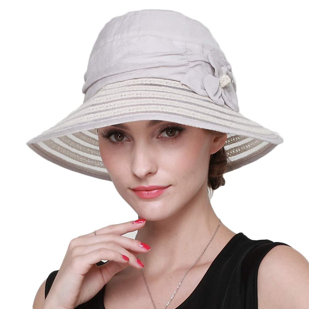 Light beige Women's Sun Hat, Summer UV Sun Visor Foldable Outdoor Travel Wide Beach Hat, Adjustable Bucket Cap