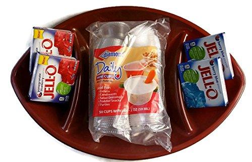 - Big Game Day Football Jell-o Shot Kit Bundle - 6 Items - 50 Plastic Jello Shot Cups with Lids, 4 Gelatin Jellos, 3oz on Football Shaped Platter