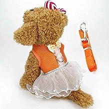 BUYITNOW Cute Small Dog Dress Harness Leash Pet Lace Tutu Skirt Mesh Vest Harness
