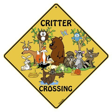 "CROSSWALKS Critter Crossing 12"" X 12"" Aluminum Sign"