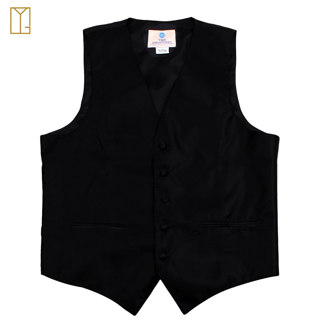 Solid Black Formal Vest for Men Patterned for Mens Gift Idea with Neck Tie, Cufflinks, Handkerchief, Bow Tie for Suit Vs1003 (3xl) by Y&G (Image #4)