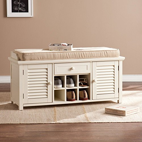 Southern Enterprises Colter Shoe Storage Bench Antique White Furniture Benches Entryway Benches