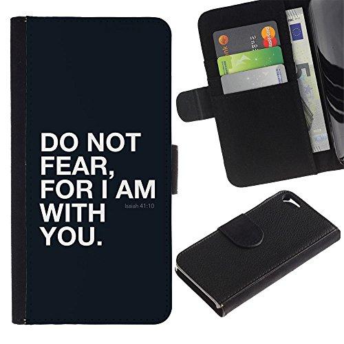"EuroCase - Apple Iphone 5 / 5S - ""ISAIAH 41:10 DO NOT FEAR - Cuir PU Coverture Shell Armure Coque Coq Cas Etui Housse Case Cover"