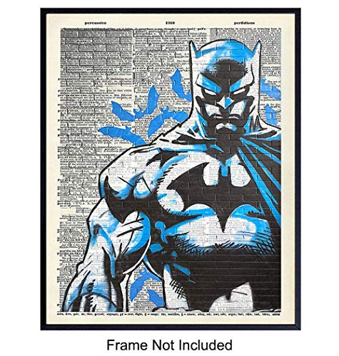 Batman Mural Graffiti Dictionary Wall Art Print, Home Decor- Vintage Upcycled Street Art - Room Decorations for Boys, Kids Room - Gift for Superheroes, Marvel, DC, Avengers, Comic Book Fans, 8x10