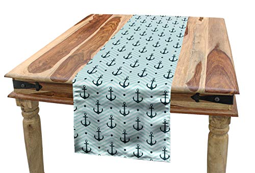 Lunarable Scary Table Runner, Zombie Clown Head in Cartoon Style Evil Monster with Scars Halloween Horror Mascot, Dining Room Kitchen Rectangular Runner, 16 W X 72 L Inches, -