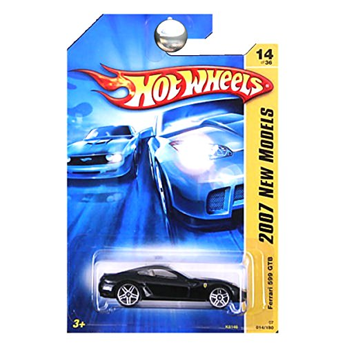 Hot Wheels 2007 New Models -#14 Ferrari 599 GTB Black #2007-14 Collectible Collector Car Mattel 1:64 Scale ()