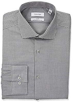 Calvin Klein Men's Non Iron Slim Fit Stretch Check Spread Collar Dress Shirt