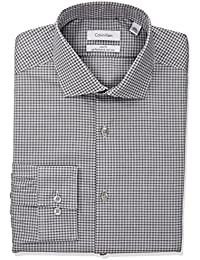 Men's Non Iron Slim Fit Stretch Check Spread Collar Dress Shirt