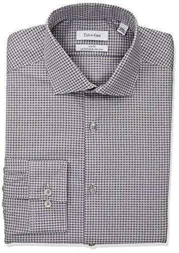 Calvin Klein Men's Dress Shirt Non Iron Stretch Slim Fit Check, red/Multi 18