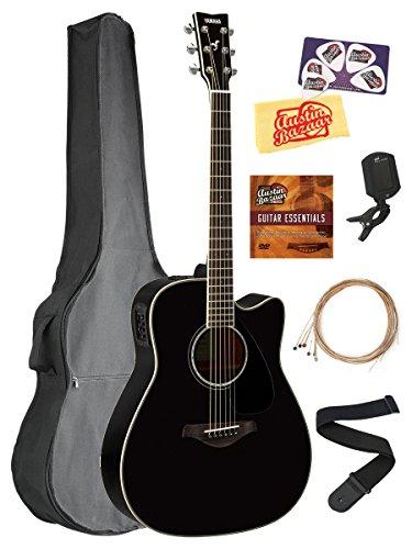 Yamaha FGX830C Solid Top Folk Acoustic-Electric Guitar - Bla