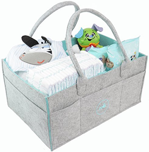 Ooki Baby Large Diaper Caddy - Minimalist Nursery Tote Bag | Foldable Changing Table Storage Organizer for Multiple Baby Supplies | Portable Car Seat Travel Basket with Removable Organizer Inserts by Ooki Baby
