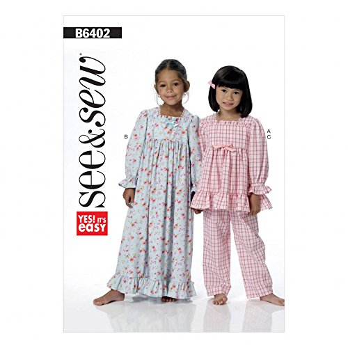 Pattern Girls Top - Butterick See & Sew Girls Easy Sewing Pattern 6402 Pyjama Top, Pants & Gown