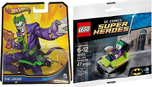 Lego Super Heroes DC Comics The Joker Bumper Car (30303) + The Joker Character Car Hot Wheels & Lego Joker Mini Figure with Pie DC Universe