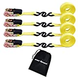 Cartman Ratchet Tie Down, 4Pk 15Ft, 500Lbs Load Cap/ 1500Lbs Break Strength, Cargo Straps for Moving Appliances, Lawn Equipment, Motorcycle in a Truck, with Carry Bag