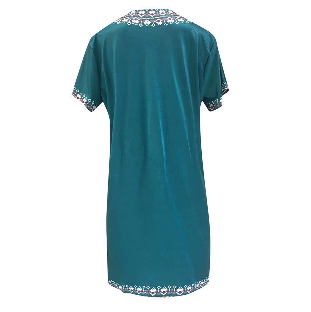Witspace Fashion Womens Casual Print V-Neck Short Sleeve Mini Dress